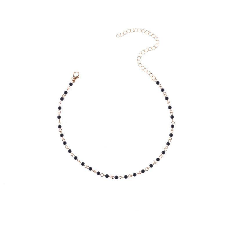 Luksusowy 2017 Prosta Żywica Koralik Choker Naszyjniki Dla Kobiet Złoty Łańcuch Kolor Czarny Biały Koralik Unikalna Design Moda Biżuteria