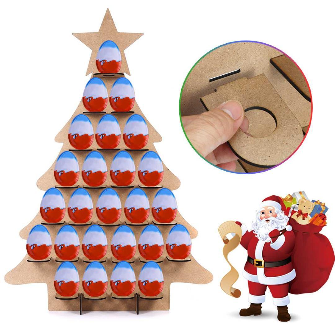 Home Christmas Tree Countdown Calendar Wooden Christmas Chocolate Display Stand Calendar For Home Decoration 68x47cm