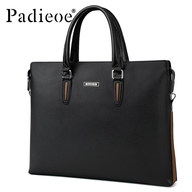Padieoe Famous Brand 2017 Business Man s Bag Male Briefcase Leather ... f4be77cd8524f
