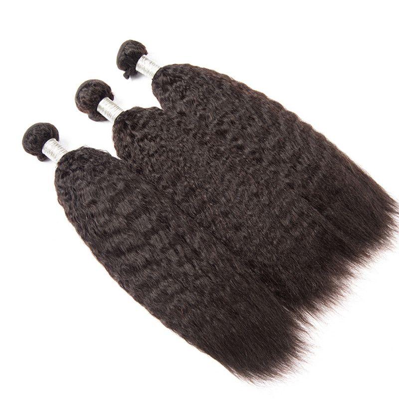 Brazilian Kinky Straight Hair Weave Bundles Human Hair Extensions Coarse Yaki Virgin Hair Natural Color DHL