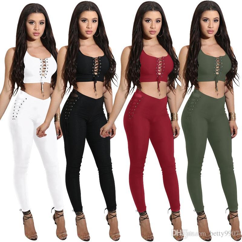 Acheter Pantalons Pour Femmes Deux Pièces Tenues Vêtements Crop Top Pants  Set 2018 Été Sexy Party Club Lace Up Beach Wear De  22.12 Du Betty9907  a2c11336379