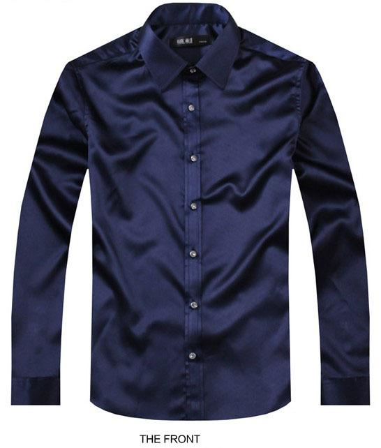 2017 Navy blue Luxury the groom shirt male long sleeve wedding shirt men's party Artificial silk dress M-3XL 21 colors FZS