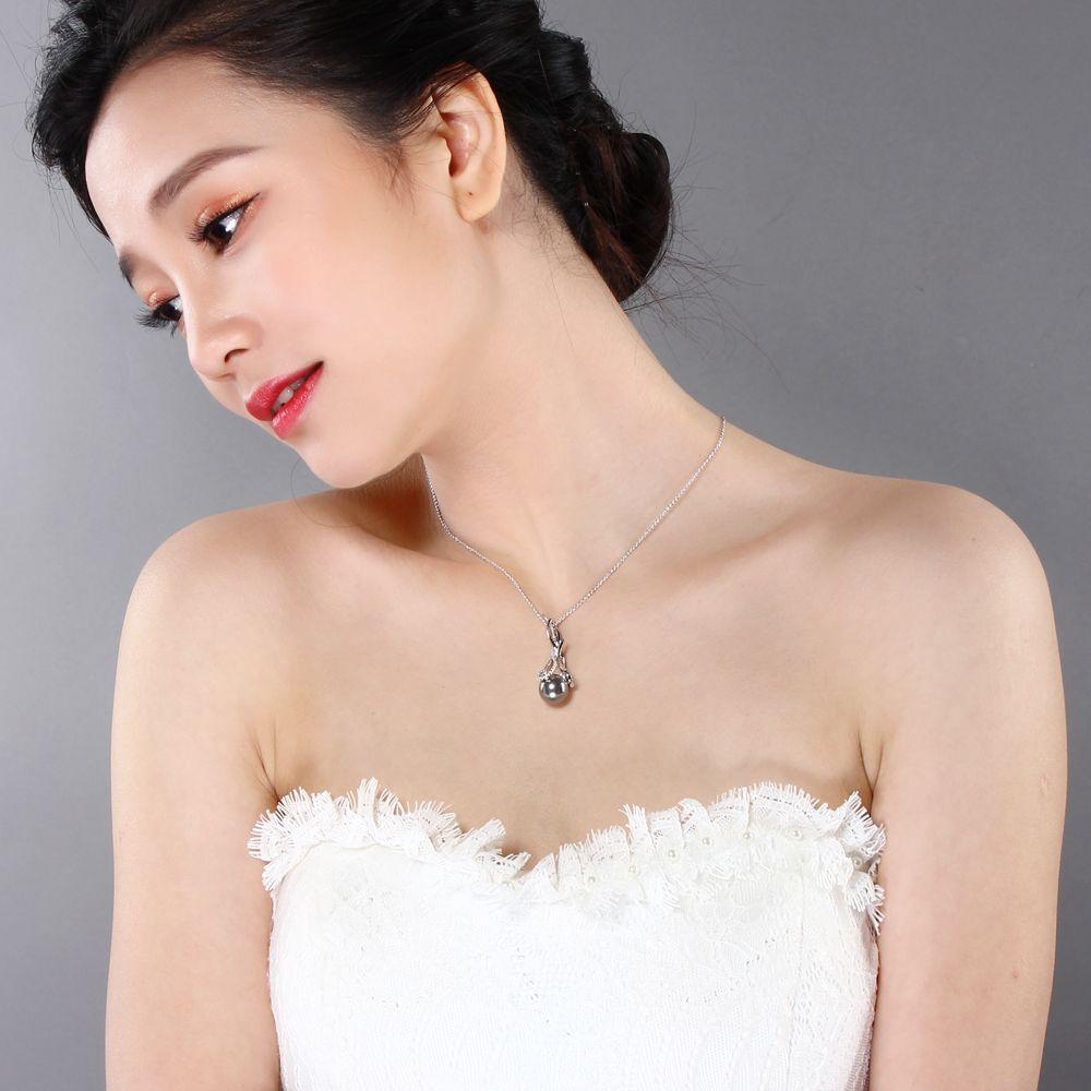 Deczign Güzel orijinal süspansiyon takı Charms Kolye kolye pingente pendentif Gri inci ve zirkon Trendy Mücevherat WP6494