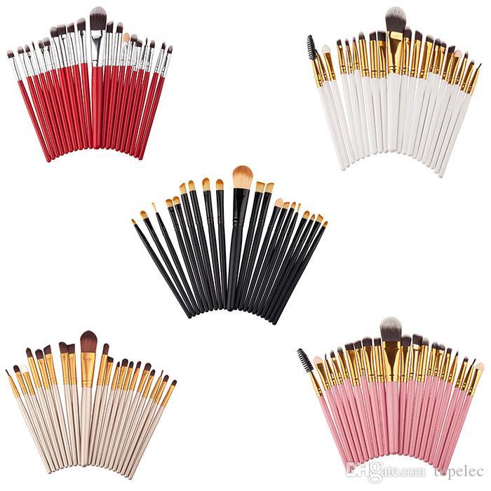 Высокое качество 20 шт. Макияжные щетки наборы Усылки порошок Фонда Eyeshadow Kits Kits Макияж кисти Профессиональный Макияж Салон красоты Бесплатная Доставка