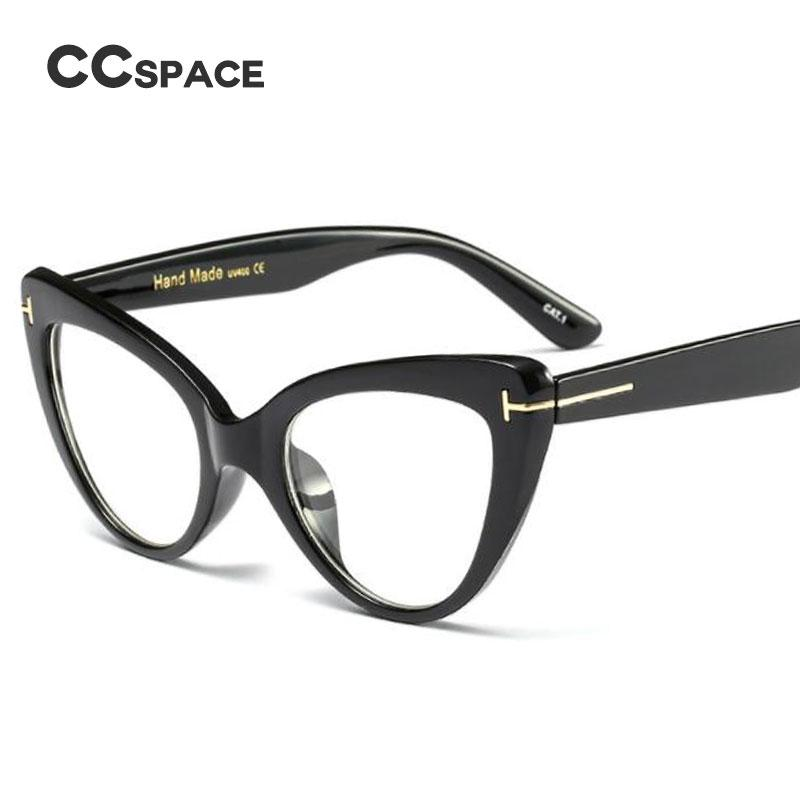 093c1bfc8a69 2019 CCSPACE Ladies Cat Eye Glasses Frames For Women Metal T Rivet Brand Designer  Optical EyeGlasses Fashion Eyewear 45131 From Value111