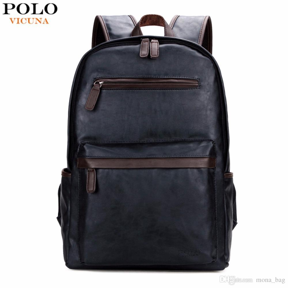 VICUNA POLO Brand Leather Mens Laptop Backpack Casual Daypacks For College  High Capacity Trendy School Backpack Men Travel Bag Laptop Backpack School  ... 242428a416