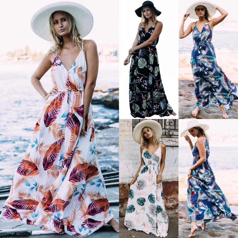 6d190a96d821 Papisecret 2018 Summer Floral Print Maxi Dresses Women Beach Club Casual  Loose Chiffon Sleeveless V Neck Long Plus Size Fashion Boho Clothes Long  And Short ...
