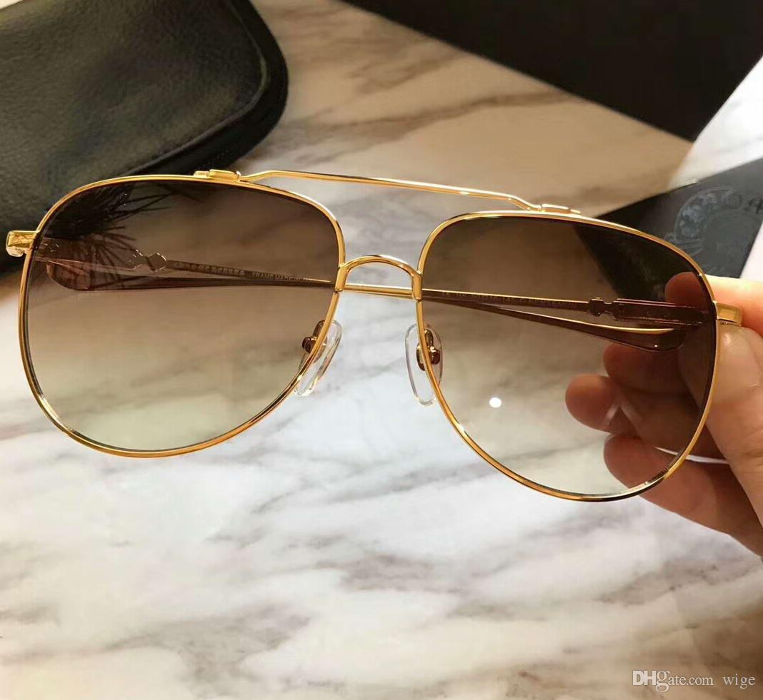 c80fdda399333 Mens Gold PILOT Sunglasses Gold Frame Brown Gradiend Lens Fashion Brand  Sunglass New With Box Vuarnet Sunglasses Bifocal Sunglasses From Wige, ...