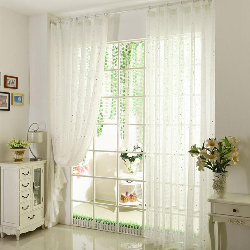 Rustic White Star Curtain Tulle for living Room Bedroom Kitchen Window  Screening Panel sheer voile curtains wp234&30