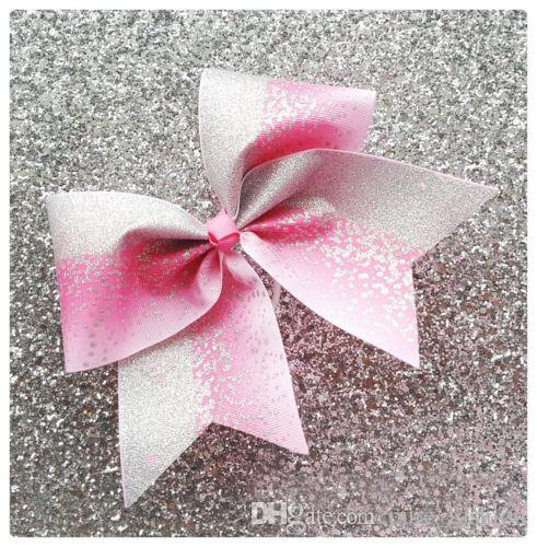 2018 NEW Blue Silver Glitter Ombre Cheer Bow Cheerleading Dance Hair Bow 7.5inch hair bow with Elastic rubber band Hair accessories