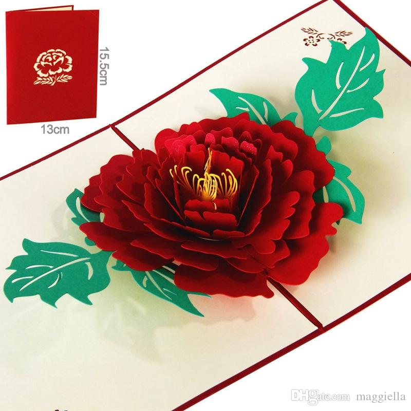 Laser cut wedding invitations korean creative 3d peony greeting card laser cut wedding invitations kirigami origami 3d greeting cards features material card paper color redpink size about 13155cm m4hsunfo