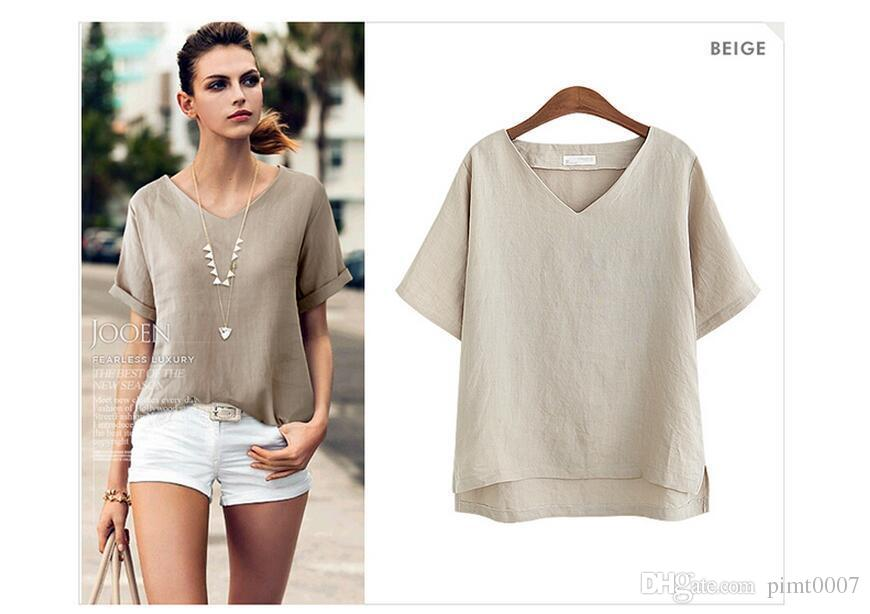 3996670637c PM85 Plus Size Flax T Shirt Women Summer Batwing Sleeve Sexy V-neck ...
