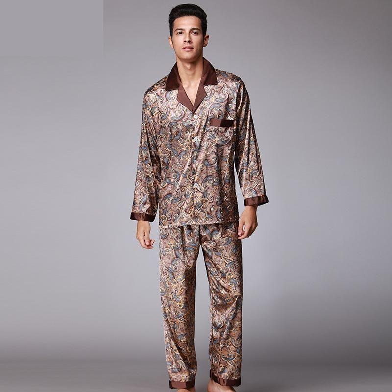 New Luxury pajamas Men Paisley Pattern Sleepwear Silk long-sleeved Satin Mens Pyjamas Men's Lounge Pajamas Set Plus Size 4XL