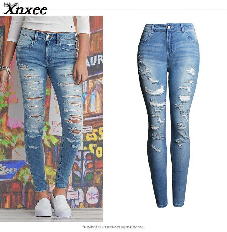 f5bdea85a5cdb Acheter Nouveau 2018 Casual Sexy Bleu Jeans Femme Coton Denim Pantalon Slim  Taille Haute Trous Déchirés Crayon Pantalon Cowboy Jeans Femme Xnxee De  $53.86 ...