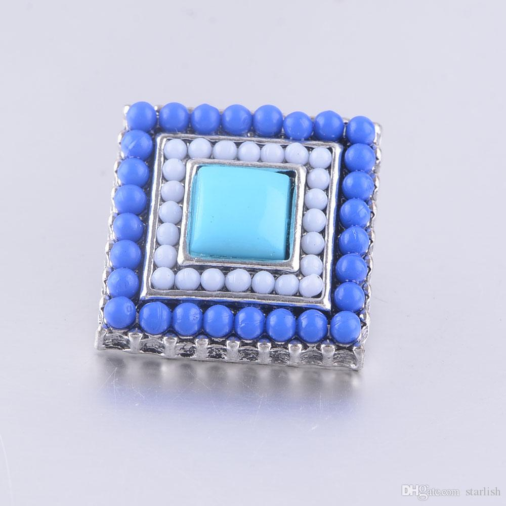 fashion elegant seed beads snap chunks jewelry charm bracelet fit Noosa chunk snap alloy button for women