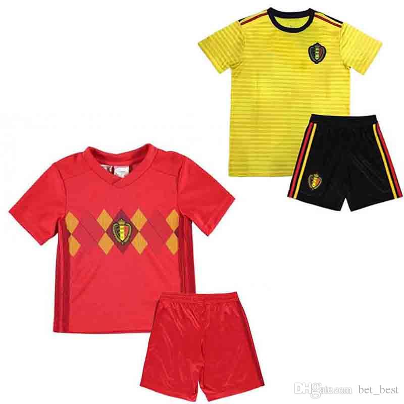 510eb2f90ea 2018 world cup Belgium soccer Jersey Kids Kit 2018 Belgique home red Soccer  Jerseys HAZARD Belgien Child Soccer Shirts uniform jersey+shorts