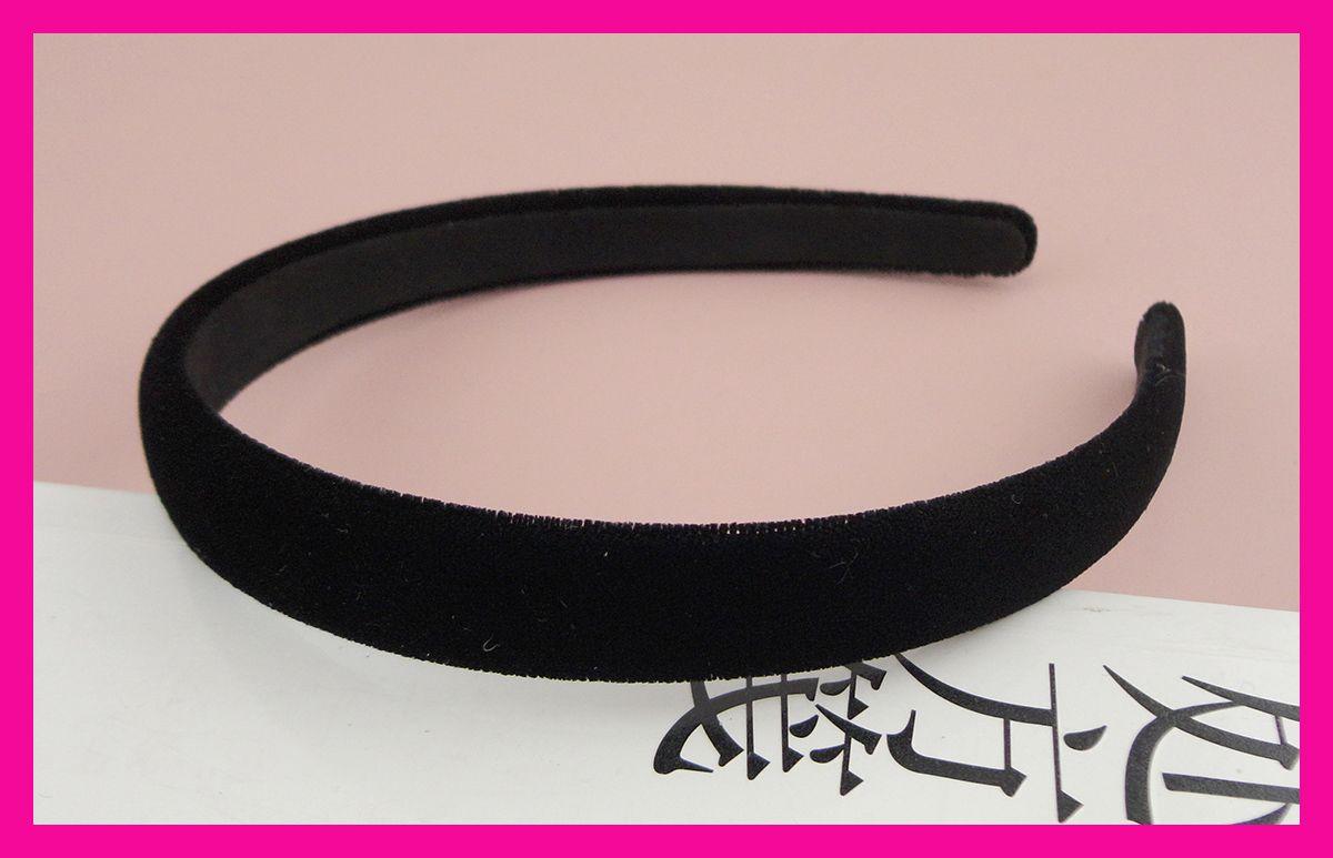 2019 15mm Black Velvet Fabric Covered Plain Plastic Hair Headbands With  Black Velvet Back c510e8a5c1c