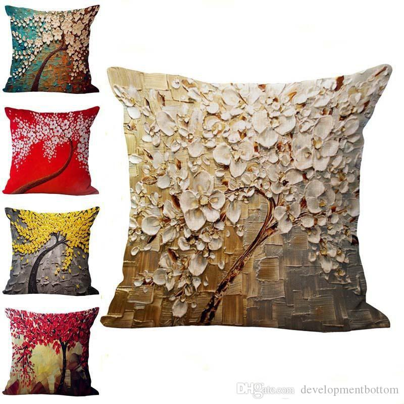 Tree Of Life Flower Pillow Case Cushion Cover Linen Cotton Throw Mesmerizing King Size Pillow Case Covers