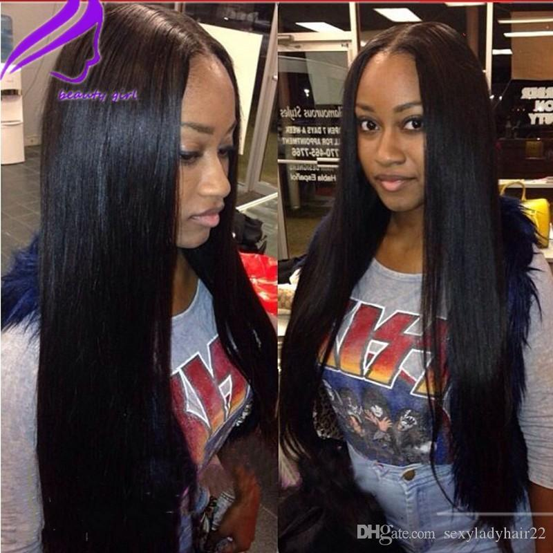 Cosplay 10-30inche 180% Density Silky Straight Synthetic Lace Front wig Heat Resistant Fiber black/brown/burgundy /blonde for Black Women