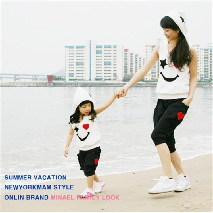 9934410664dd Matching Mother Daughter Clothes Sets Fashion Family Mom Girl Outfits Mommy  Me Summer Fashion Sleeveless Tshirt+Short Matching Family Shirts Matching  Family ...