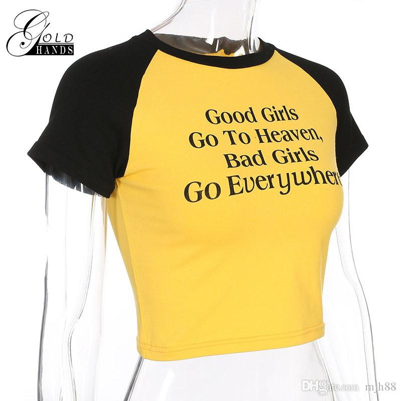 Nouveau T-shirt femme nombril T-shirts à manches courtes à manches courtes Contraste sexy chemise-Trois yard Affiche Imprimer été couture de la mode top Necklin