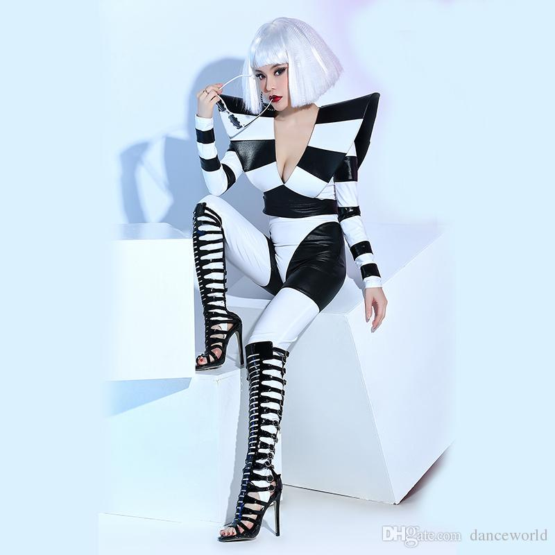 Stage Costumes Bar Nightclub Female Singer Dj Dance Team Atmosphere Black And White Elasticity Performance Sexy Clothes Bodysuit