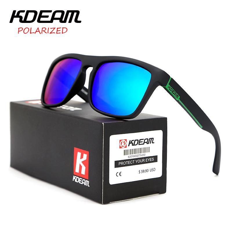 e7f2b964b4 Compre Certificação CE KDEAM Polarizada Óculos De Sol Dos Homens Do Esporte  Óculos De Sol Condução Mulheres Espelho Lente Quadrado Quadro UV400 Com O  Caso ...