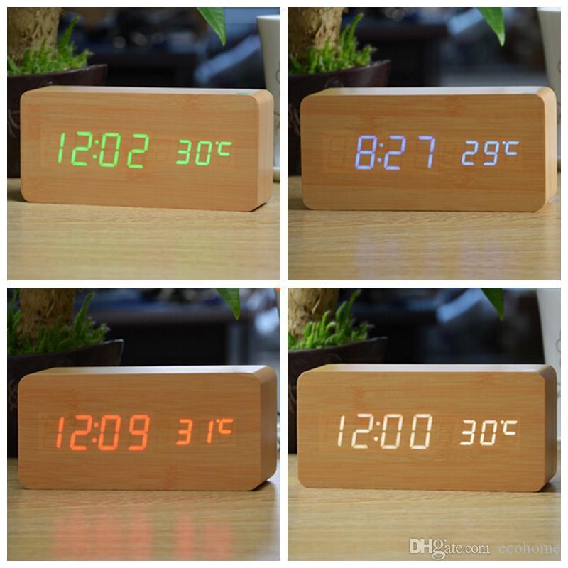 Reloj de alarma digital de madera Control de voz LED Reloj despertador inteligente electrónico Despertador con temperatura de tiempo para oficina en casa