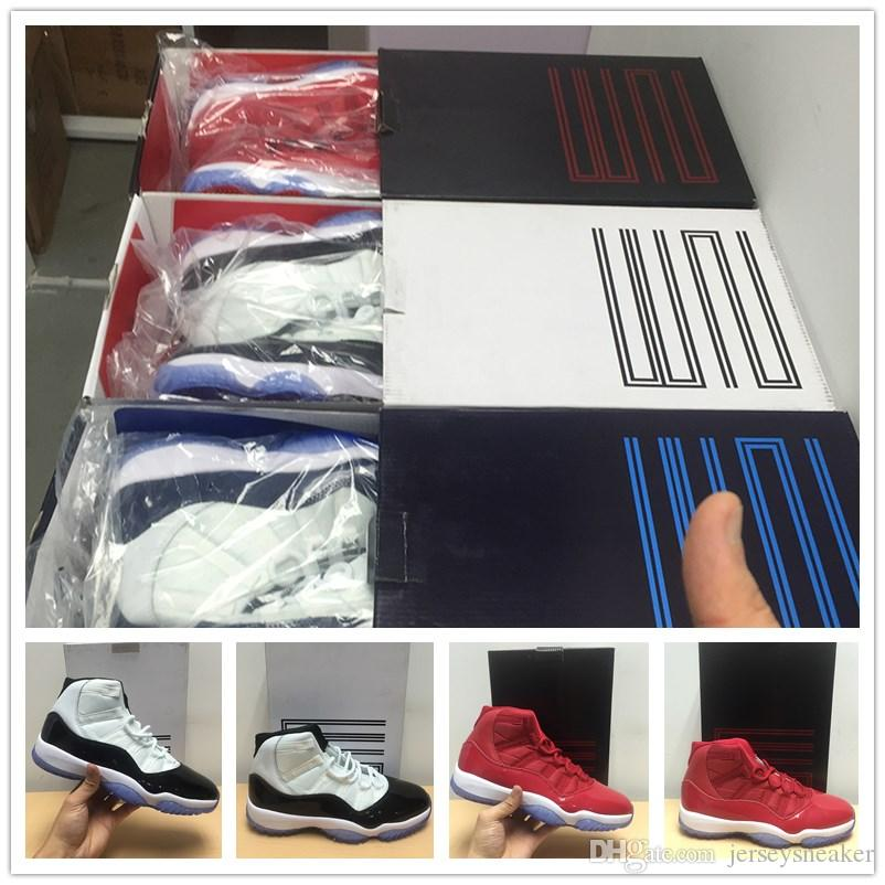 Mit Box Mens 11s Concord 23 45 Chicago UNC Turnhalle rot Midnight Navy Damen Basketballschuhe 11 Sport Sneaker 7-13