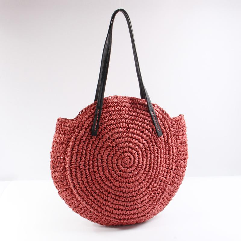 Summer New Red Straw Handbag Big Capacity Hand Crochet Shoulder Bag 2018 Hot Round Travel Rattan Bag PU Strap Splice Beach Bag