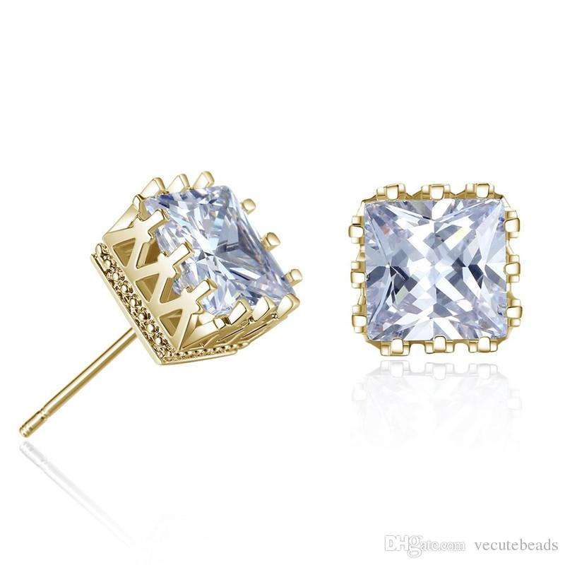 81d0213fb Gold Silver Color Men Cubic Zirconia Crystal Square Stud Earrings ...