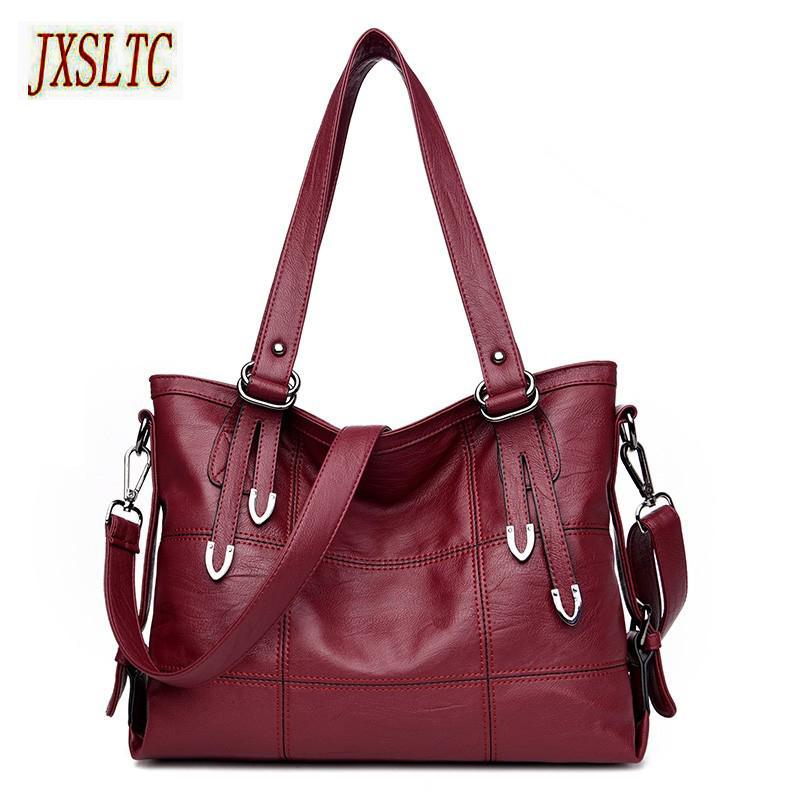 fe658f66328fa Großhandel Fashion Leder Handtasche Damen Schultertasche Damen Rot Luxus  Handtaschen Große Casual Schulter Messenger Bag Mamabeutel Sac Tote Von  Blithenice