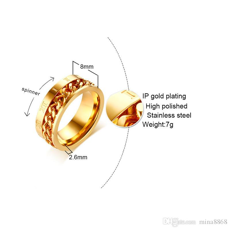 Fashion Charm Jewelry silver/gold/black color Roman numerals stainless steel chain spinner Rings For Women Men Dropshipping