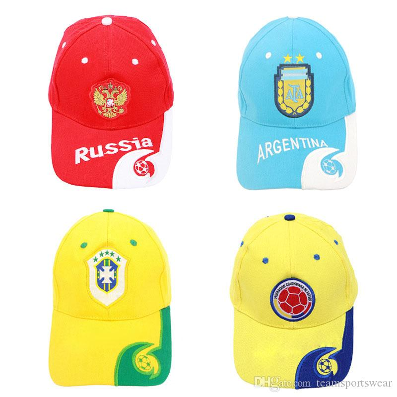 76fb5ab87a7 2019 World Cup 2018 Soccer Fans Hats Casquette Baseball Cap Men Women  Embroidery Hat Sunbonnet National Team Football Outdoor Sport Cap Gift From  ...