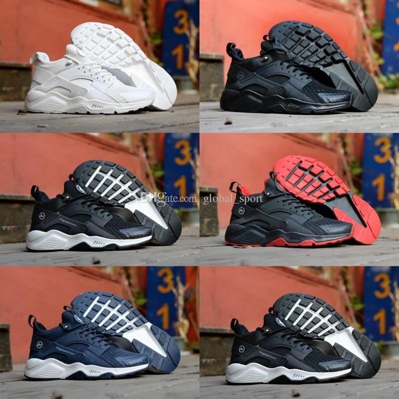 buy popular d2c67 cec60 2018 Huarache 6 X Fragment Design MID Leather High Top Huaraches Ultra  Running Shoes Men Women Huraches Designers Sneakers Hurache Size 7 11 Best  Running ...