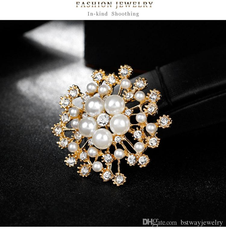 Beauty snowflakes pearl crystal brooches beautiful flowers brooches new fashion ladies fashion apparel decor brooches pins