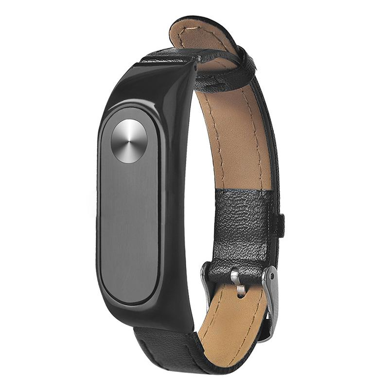 Replacement Leather strap Wrist Band Plus For Mi Band 2 Metal Case