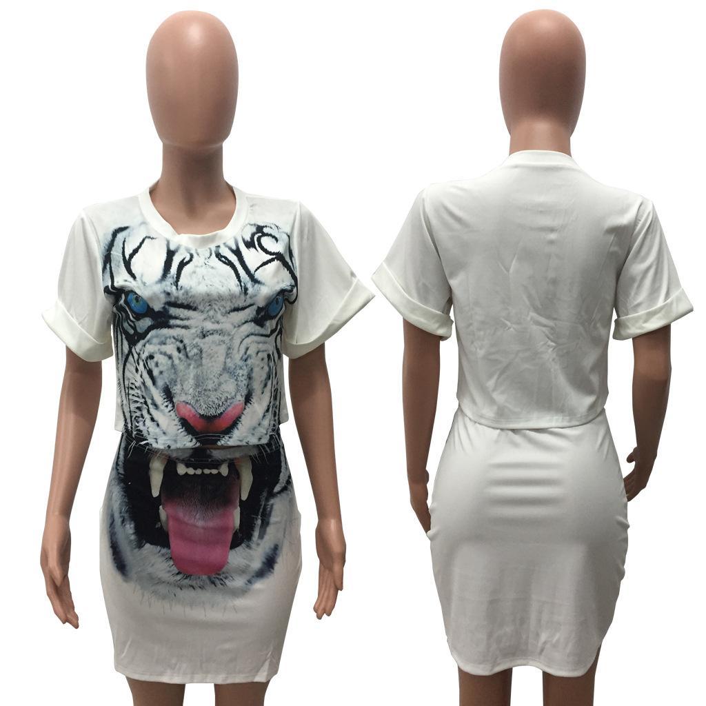 Art und Weise reizvoller Druck des Tieres 3d Kurzhülse T-Shirt Rock zweiteilige Sätze plus Größenfrauensommertiger schwarze weiße orange Kleidklagen