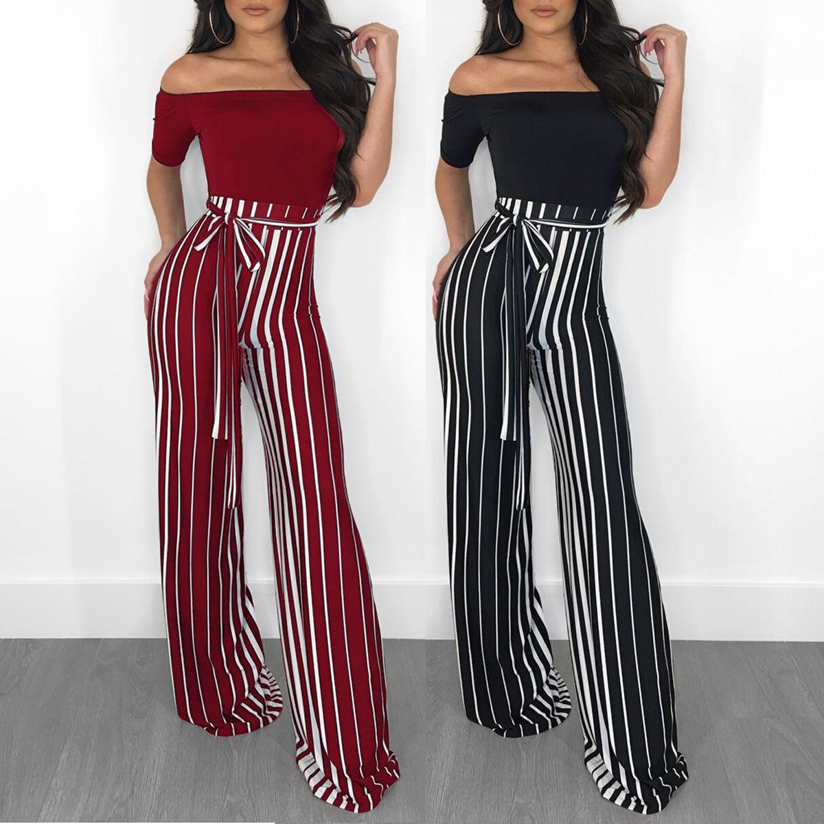 8c871d020ff 2019 2018 Women Elegant Jumpsuits Slash Neck Off Shoulder Striped Jumpsuit  Fashion Short Sleeve Wide Leg Pants Rompers Overalls Black Red 5522 From ...