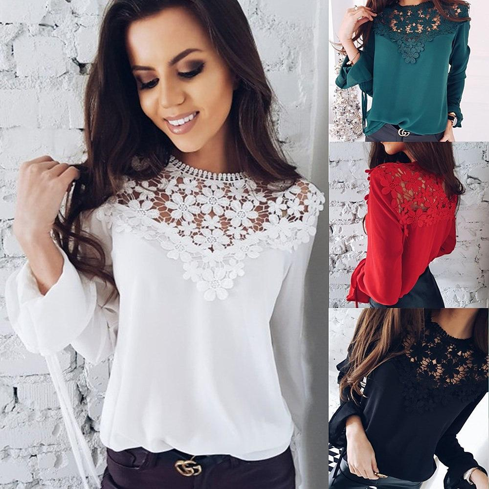 f2a8075144 2019 New Arrivals 2018 Women Chiffon Summer Top Hollow Out Lace Splice Long  Sleeve Chiffon Blouse Female Blouses Casual Women Tops From Bestshirt003