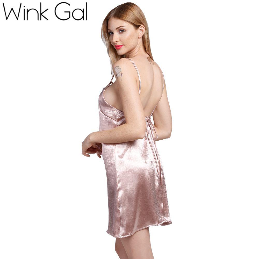Satin Lace Up Slip Kleid Seide Sexy Nachthemden Nachtwäsche Sommer Nachtwäsche Schlaf Kleider Frauen 3257
