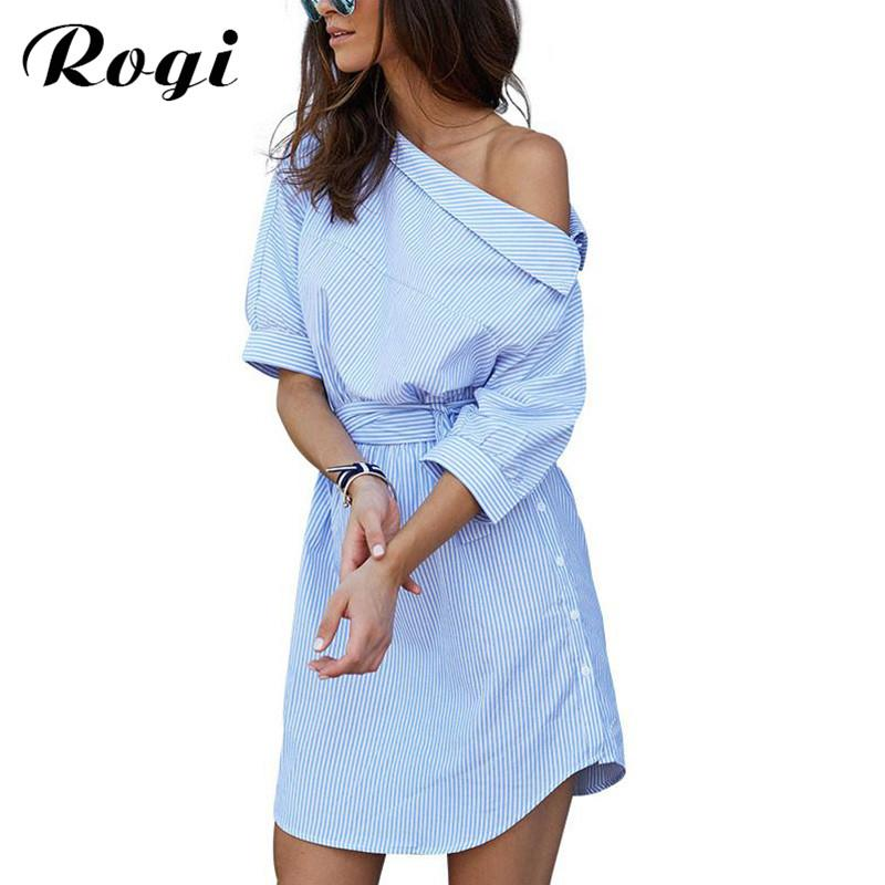 5749b61291157 Rogi Vestidos 2018 Sexy Off Shoulder Blue Stripe T-Shirt Dress Mujer Summer  Beach Tunic Party Dresses Tops Sarafan Robe Femme