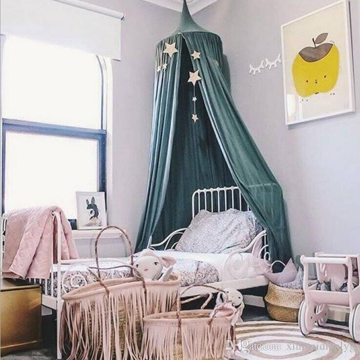 Children\'S Bed Canopy Bed Curtain Round Ceiling Hanging Mosquito Net ...
