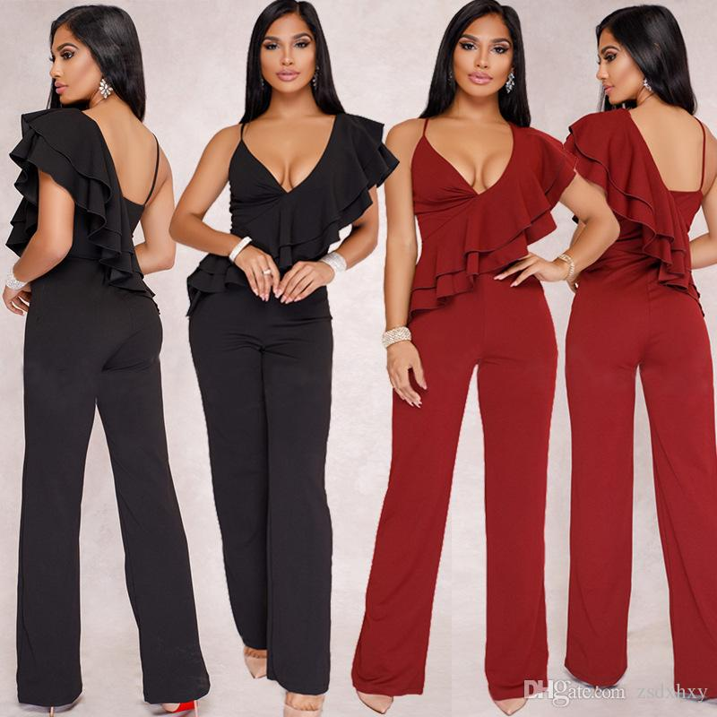 e7bc7b677d16f Women Jumpsuits Rompers Fashion Nova Elegant Body Femme Sexy Jumpsuit  Summer Ruffle Black Macacao Overalls for Women Rompers Womens Jumpsuit