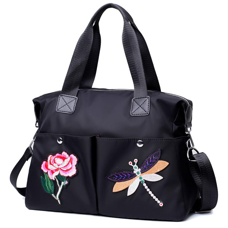 Women's portable multifunctional embroidery waterproof nylon fashion wild backpack shoulder Messenger bag