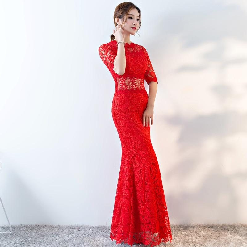 2018 Modern Chinese Wedding Gowns Traditional Qipao Red Lace ...