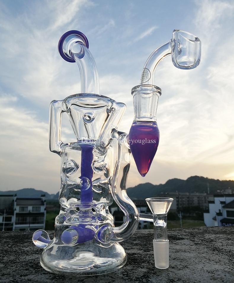 "9.2"" Dab Rig Glass Bong Water Pipes Thick 4mm Quartz Banger Tyre Perc Bongs Heady Pipe Oil Rigs Glass Recycler Bubbler Hookahs"