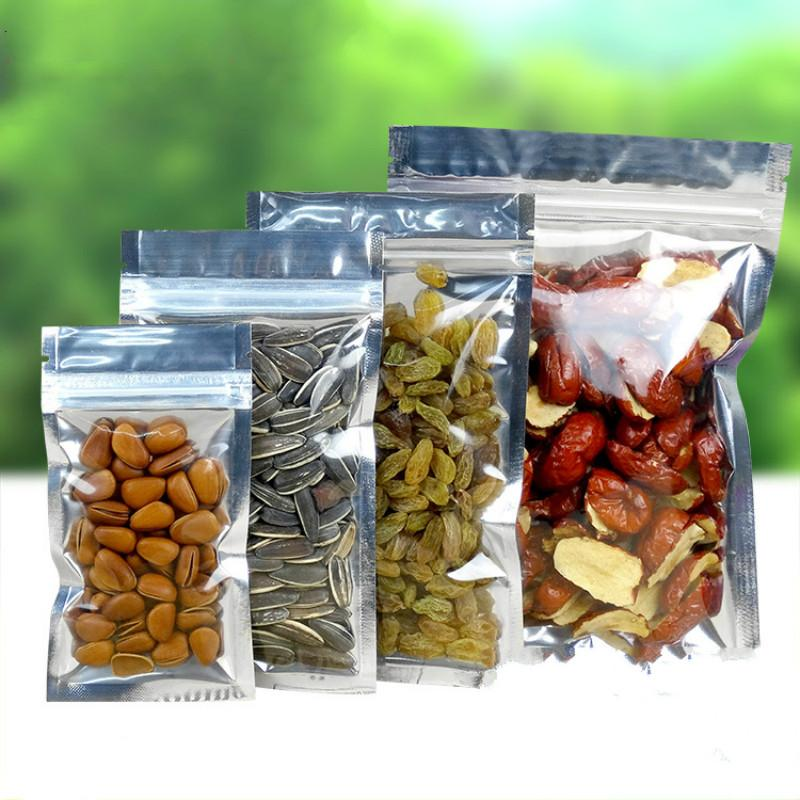 100Pcs Clear Aluminum Foil Zip Lock Bag Silvery Metallic Plastic Packaging Baggies Pouch for Food Tea Candy Cookie Baking Tobacco Herb