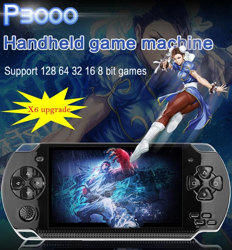 2018 New 8GB PSP P3000 Portable Mini Handheld Game Console Player,5  Screen,Support 8-128 Bit Games, Video Photo Shooting, Music Player,DHL