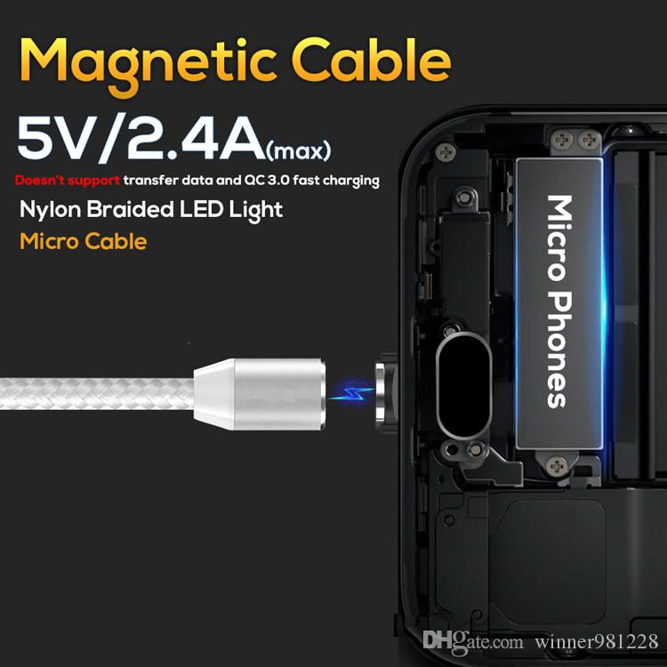 1M3.3ft LED Magnetic Micro USB Cable , Premium Nylon Braided Magnet Microusb Charger Cable for Micro USB Port